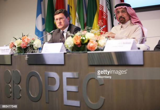 Alexander Novak Russia's energy minister left speaks as Khalid AlFalih Saudi Arabia's energy and industry minister listens during a news conference...