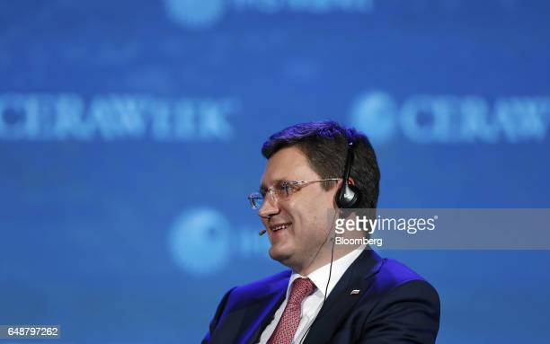 Alexander Novak Russia's energy minister smiles during the 2017 <Menu> to Return to Your Inbox CERAWeek by IHS Markit conference in Houston Texas US...
