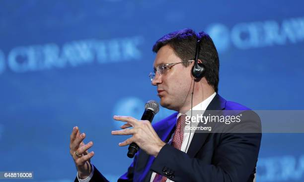 Alexander Novak Russia's energy minister speaks during the 2017 <Menu> to Return to Your Inbox CERAWeek by IHS Markit conference in Houston Texas US...