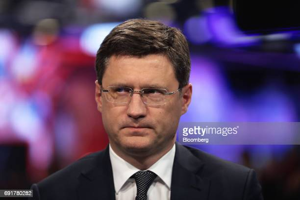 Alexander Novak Russia's energy minister speaks in a Bloomberg Television interview during the St Petersburg International Economic Forum at the...