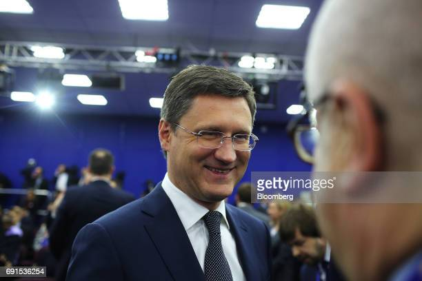 Alexander Novak Russia's energy minister speaks to attendees between panel sessions during the St Petersburg International Economic Forum at the...
