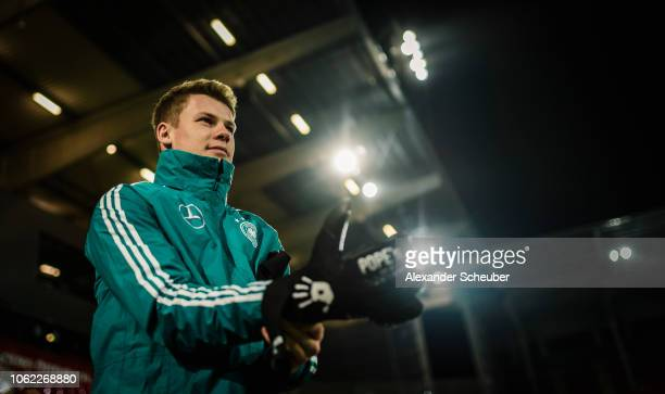 Alexander Nuebel is seen during the Germany Under21 training session on November 15 2018 in Offenbach Germany