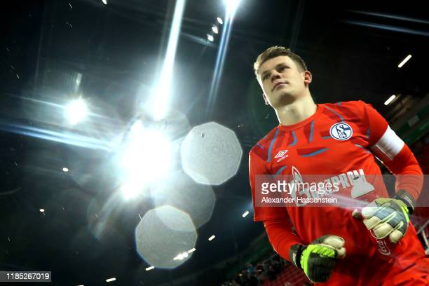 Alexander Nuebel, keeper of Schalke enters the field of play for the Bundesliga match between FC Augsburg and FC Schalke 04 at WWK-Arena on November...