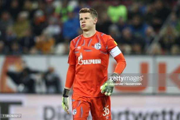 Alexander Nuebel, keeper of Schalke reacts during the Bundesliga match between FC Augsburg and FC Schalke 04 at WWK-Arena on November 03, 2019 in...