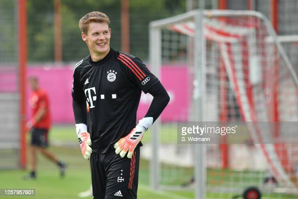 Alexander Nuebel of Bayern Muenchen looks on during a training session at Saebener Strasse training ground on July 24, 2020 in Munich, Germany.