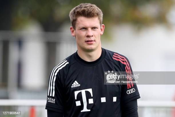 Alexander Nuebel of Bayern Muenchen looks on during their first training session after the summer break at Saebener Strasse training ground on...