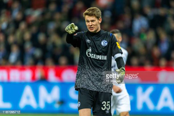 Alexander Nuebel of FC Schalke 04 gestures during the Bundesliga match between Bayer 04 Leverkusen and FC Schalke 04 at BayArena on December 7, 2019...