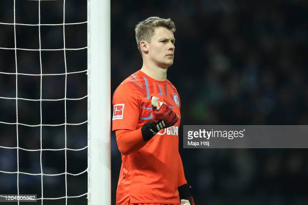 Alexander Nuebel of FC Schalke 04 looks on prior to during the Bundesliga match between Hertha BSC and FC Schalke 04 at Olympiastadion on January 31,...
