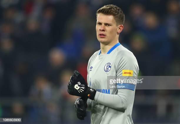Alexander Nuebel of FC Shalke 04 looks on during the Bundesliga match between FC Schalke 04 and VfL Wolfsburg at VeltinsArena on January 20 2019 in...