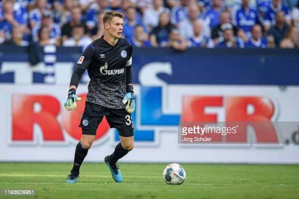 Alexander Nuebel of Schalke in action during the Bundesliga match between FC Schalke 04 and FC Bayern Muenchen at Veltins-Arena on August 24, 2019 in...