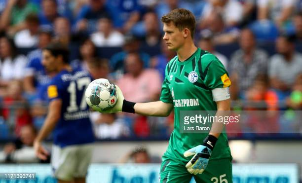 Alexander Nuebel of Schalke is seen during the Bundesliga match between FC Schalke 04 and Hertha BSC at VeltinsArena on August 31 2019 in...