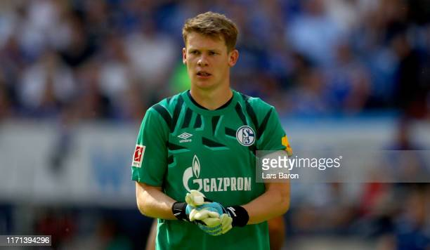 Alexander Nuebel of Schalke is seen during the Bundesliga match between FC Schalke 04 and Hertha BSC at Veltins-Arena on August 31, 2019 in...