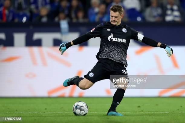 Alexander Nuebel of Schalke kicks the ball during the Bundesliga match between FC Schalke 04 and 1 FSV Mainz 05 at VeltinsArena on September 20 2019...