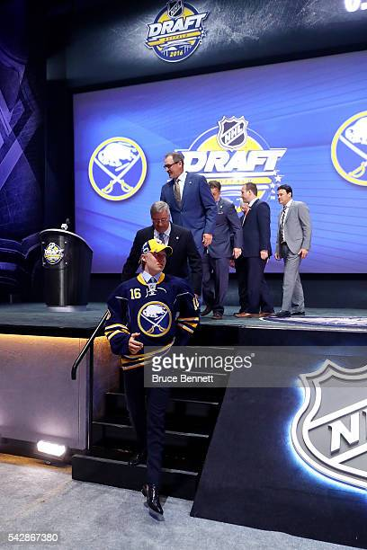 Alexander Nylander celebrates with the Buffalo Sabres after being selected eighth overall during round one of the 2016 NHL Draft on June 24 2016 in...