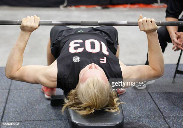 Alexander Nylander does the Bench press during the NHL Combine at HarborCenter on June 4 2016 in Buffalo New York