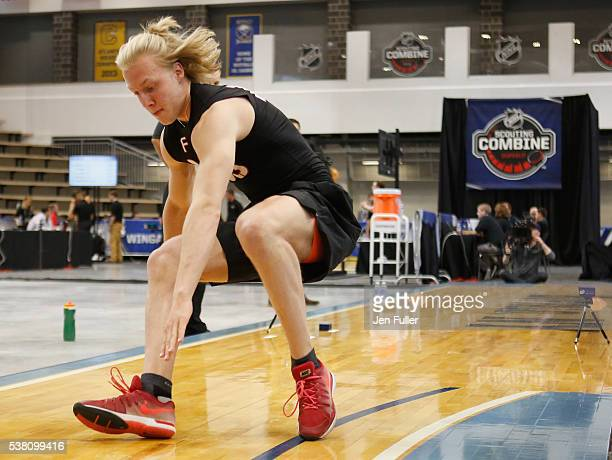 Alexander Nylander does the Pro Agility test during the NHL Combine at HarborCenter on June 4 2016 in Buffalo New York