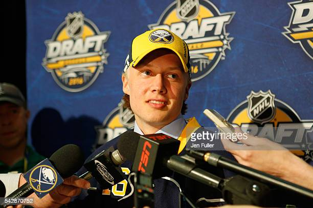 Alexander Nylander gives an inteview after being selected eighth overall by the Buffalo Sabres during round one of the 2016 NHL Draft on June 24 2016...