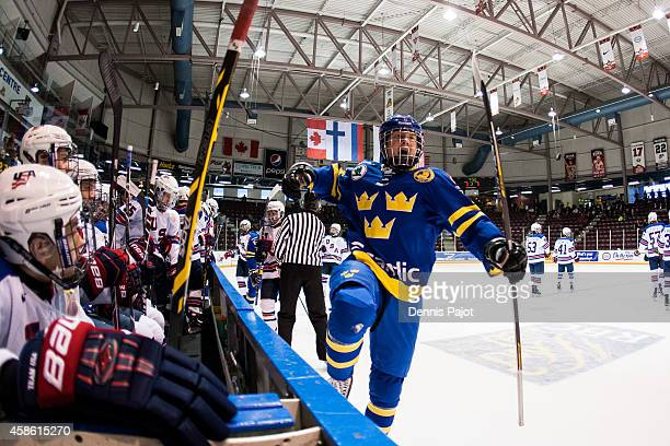 Alexander Nylander of Sweden celebrates a goal against the United States during semifinals at the World Under17 Hockey Challenge on November 7 2014...