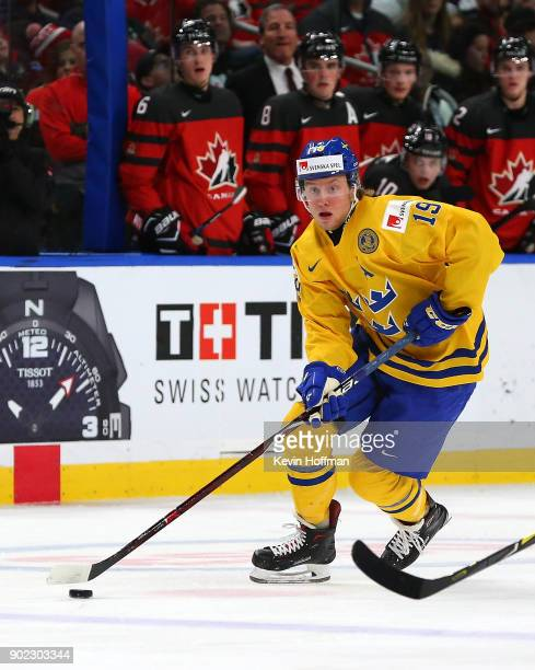 Alexander Nylander of Sweden in play against Canada during the Gold medal game of the IIHF World Junior Championship at KeyBank Center on January 5...