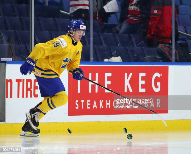 Alexander Nylander of Sweden is the first to the ice before the game against the United States during the IIHF World Junior Championship at KeyBank...