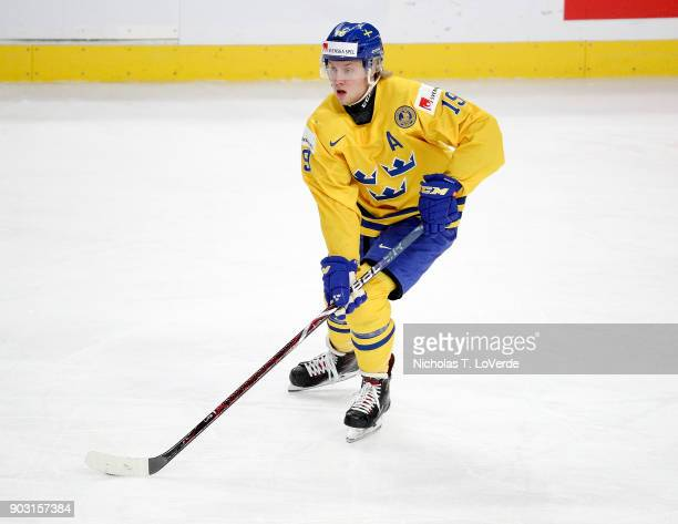 Alexander Nylander of Sweden skates against the United States during the first period of play in the IIHF World Junior Championships Semifinal game...