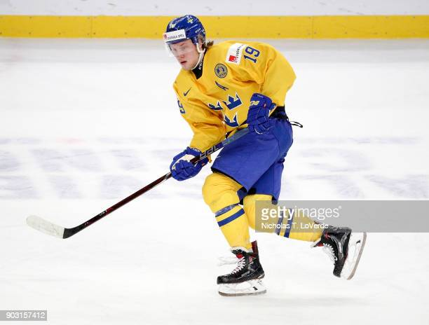 Alexander Nylander of Sweden skates against the United States during the second period of play in the IIHF World Junior Championships Semifinal game...