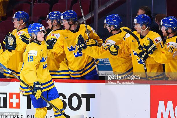 Alexander Nylander of Team Sweden celebrates his first period goal during the IIHF preliminary round game against Team Denmark at the Bell Centre on...