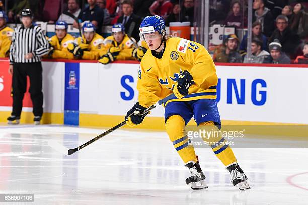 Alexander Nylander of Team Sweden skates during the IIHF World Junior Championship preliminary round game against Team Denmark at the Bell Centre on...