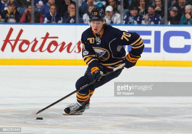 Alexander Nylander of the Buffalo Sabres playing in his first NHL game skates against the Toronto Maple Leafs at the KeyBank Center on April 3 2017...