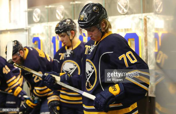Alexander Nylander of the Buffalo Sabres prepares to skate in his first NHL game against the Toronto Maple Leafs at the KeyBank Center on April 3...