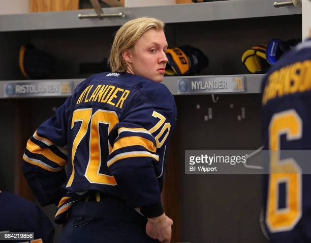 Alexander Nylander of the Buffalo Sabres prepares to take the ice prior to his first NHL game against the Toronto Maple Leafs at the KeyBank Center...