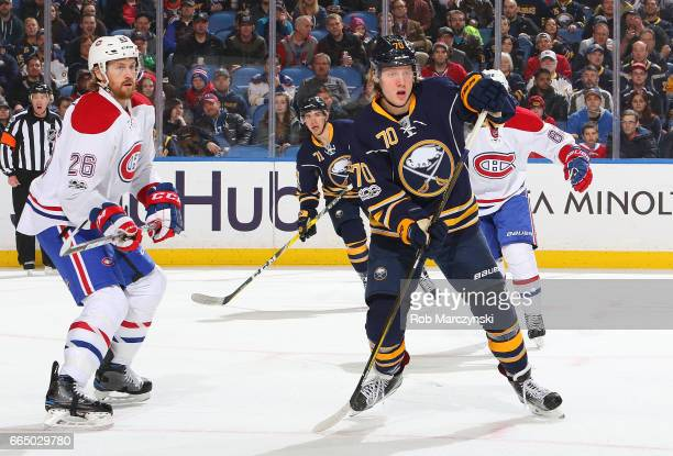 Alexander Nylander of the Buffalo Sabres skates against Jeff Petry of the Montreal Canadiens during an NHL game at the KeyBank Center on April 5 2017...