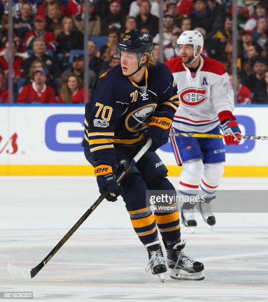 Alexander Nylander of the Buffalo Sabres skates against the Montreal Canadiens during an NHL game at KeyBank Center on April 5 2017 in Buffalo New...
