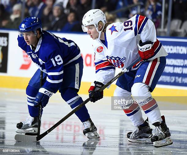 Alexander Nylander of the Rochester Americans prepares for a faceoff against Brendan Leipsic of the Toronto Marlies during AHL game action on January...