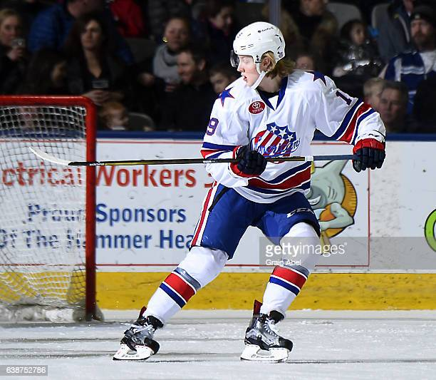 Alexander Nylander of the Rochester Americans turns up ice against the Toronto Marlies during AHL game action on January 14 2017 at Ricoh Coliseum in...