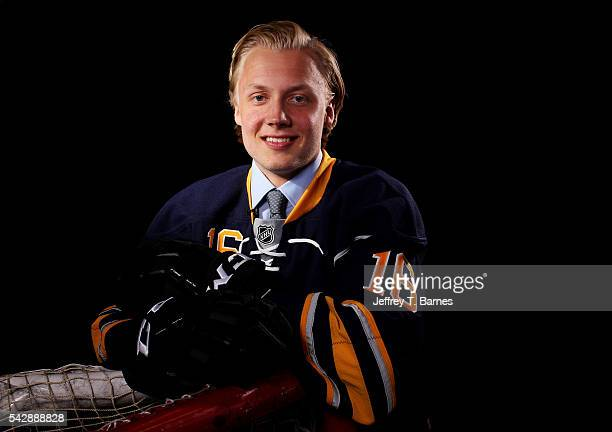 Alexander Nylander poses for a portrait after being selected eighth overall by the Buffalo Sabres in round one during the 2016 NHL Draft on June 24...