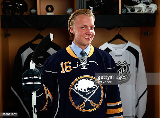 Alexander Nylander selected eighth overall by the Buffalo Sabres poses for a portrait during round one of the 2016 NHL Draft at First Niagara Center...