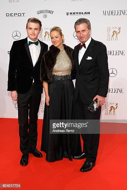 Alexander Oettinger Friederike Beyer and Guenther Oettinger arrive at the Bambi Awards 2016 at Stage Theater on November 17 2016 in Berlin Germany