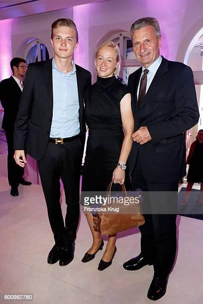 Alexander Oettinger Guenther Oettinger and his girlfriend Friederike Beyer attend the Bertelsmann Summer Party at Bertelsmann Repraesentanz on...