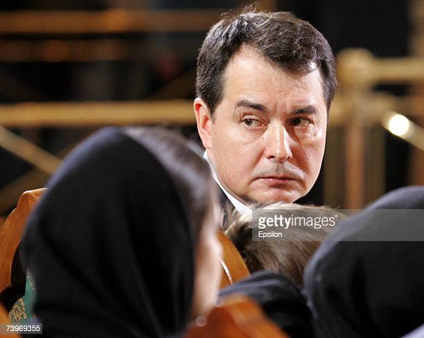 Alexander Okulov soninlaw of former Russian president Boris Yeltsin attends his state funeral at Christ the Savior Cathedral on April 25 Moscow...