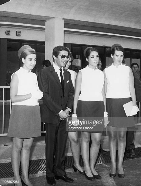 Alexander Onassis Posing With Some Stewardesses From The Air Company Olympic Airways On A Press Conference Which He Gave At The Athens Airport On...