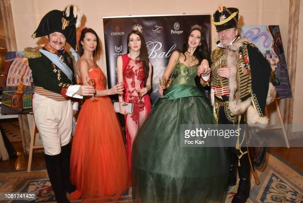 Alexander Oswald as Tsar Nikolai 1st model Sophie Sochoco Marcy Skye fashion designer Angela Shapovalova and hussard Peter Hoesel attend Bal Des...