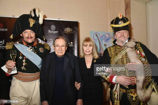 Alexander Oswald as Tsar Nikolai 1st, Robert Hossein, Candice Patou and hussard Peter Hoesel attend Bal Des Tsars Et Des Tsarines At Hotel Interallie...