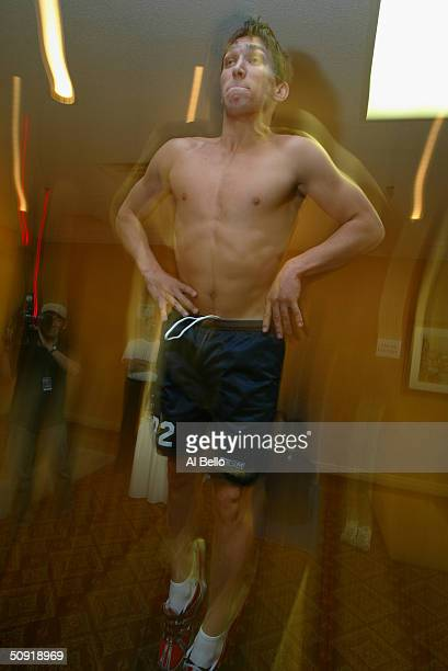 Alexander Ovechkin jumps during the NHL Entry Draft Testing on May 29, 2004 at the Park Plaza Hotel in Toronto, Canada.