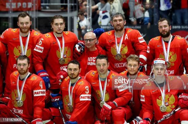 Alexander Ovechkin of Russia celebrate with his team mates winning the bronze medal after the 2019 IIHF Ice Hockey World Championship Slovakia third...