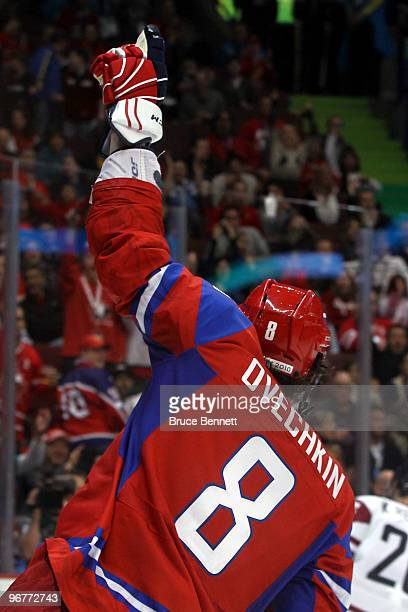 Alexander Ovechkin of Russia celebrates after scoring a goal during the ice hockey men's preliminary game between Russia and Latvia on day 5 of the...