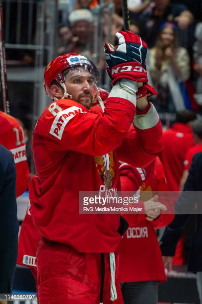 Alexander Ovechkin of Russia celebrates their win with bronze medal after during the 2019 IIHF Ice Hockey World Championship Slovakia third place...