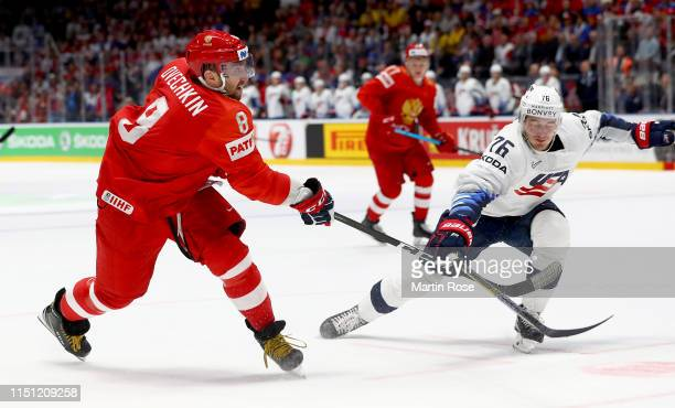 Alexander Ovechkin of Russia challenges Brady Skjei of United States during the 2019 IIHF Ice Hockey World Championship Slovakia quarter final game...
