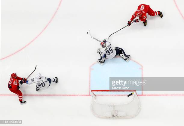 Alexander Ovechkin of Russia challenges Cory Schneider goaltender of United States during the 2019 IIHF Ice Hockey World Championship Slovakia...