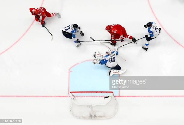 Alexander Ovechkin of Russia challenges Kevin Lankinen goaltender of Finland during the 2019 IIHF Ice Hockey World Championship Slovakia semi final...